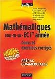 """echange, troc Collectif - Mathématiques """"Tout-en-un"""", 1ère année EC : Cours et exercices corrigés"""
