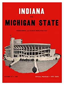 1960 Indiana Hoosiers vs Michigan State Spartans 36x48 Canvas Historic Football... by Mounted Memories