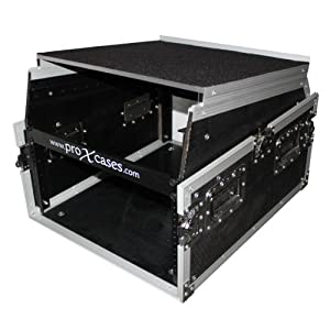 "ProX T-6MRSS13ULT MIXER COMBO RACK 6U 13U SLANTED TOP 19"" MOUNT FLIGHT ROAD GIG READY DJ CASE WITH LAPTOP SHELF GLIDE STYLE"