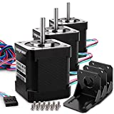 Stepper Motor, Longruner 3 Packs Nema 17 Stepper Motor 1.7A 0.59 Nm 84oz.in 48mm Body w/ 1m Cable & Connector for 3D Printer/CNC with Motor Mounting Bracket and 36mm M3 Screws