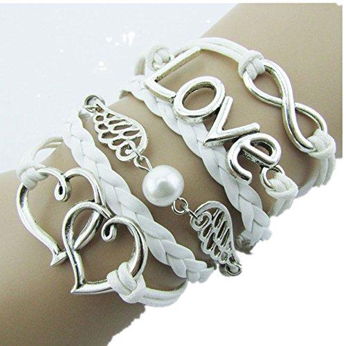 Lisingtool Infinity Love Anchor Compass Leather Charm Bracelet Plated (White)