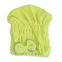 Lady Gym Swimming Shower Elastic Hair Dry Cap Turban Towel Yellow