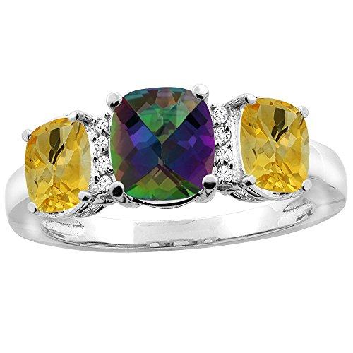 10K White Gold Natural Mystic Topaz & Citrine 3-stone Ring Cushion 8x6mm Diamond Accent