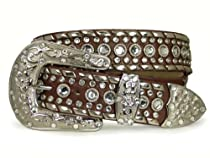 Western Rhinestone Silver Studded Leather Belt Color: Brown Size: S/M - 34
