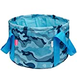 3.4Gal AoMagic Oxford and PEVA Fabric Collapsiable Wash Bucket for Camping Hiking Fishing Traveling