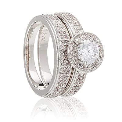 White Gold Plated 1ct Simulated Diamond Solitaire Eternity 2pc Wedding Engagment Ladies Ring Bands Set