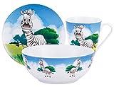 KAISERHOFF Porzellan Kindergeschirr Set Zebra - 3-teilig - Tasse