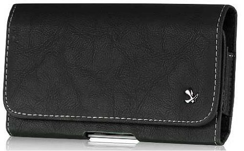 Jitterbug Touch3 Horizontal Black Leather Case Pouch Built In Magnetic Flap and Belt Clip and Soft Interior Material