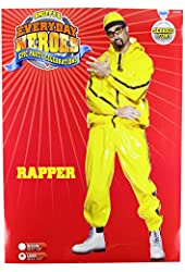Smiffy's Men's Rapper Suit Pvc with Hooded Jacket Trousers and Hat