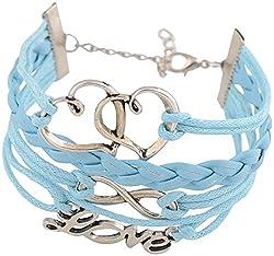 Sorella'z Blue Double Heart Charm Bracelet