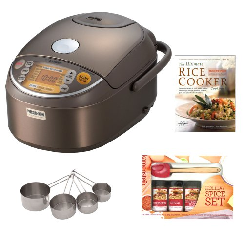 Zojirushi NP-NVC10 Induction Heating Pressure Rice Cooker & Warmer + Cooking Book + Spatula Spice Set + Stainless Measuring Cup Set (Zojirushi Platinum Rice Cooker compare prices)