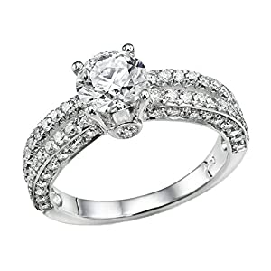 IGI Certified 14k white-gold Round Cut Diamond Engagement Ring (1.55 cttw, D Color, SI1 Clarity) - size 8.5