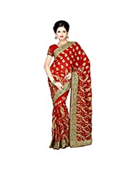 Indian Entrancing Maroon Colored Embroidered Faux Georgette Saree By Triveni