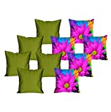 meSleep 5 Pc MultiFlower Digital Cushion Cover and 5 Pc Green Quilted Cushion Cover