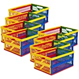 ECR4Kids Large Vented Collapsible Crate, Colors Vary, 12-Pack
