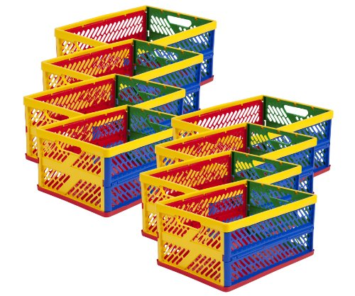 Ecr4Kids Large Vented Collapsible Crate, (Colors Vary), 12-Pack front-896673
