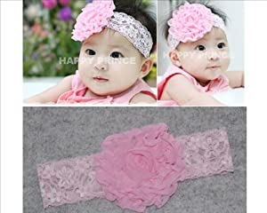 Baby Toddler Kid Girls princess HeadBand HairBand Hair Bow Lace Flower Accessories 0.5-2 year Dark Pink