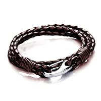 Tribal Steel Mens 21cm Brown Leather 4-strand Bracelet With Stainless Steel Shrimp Clasp from Tribal Steel