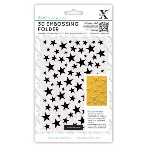 xcut Universal A6 Embossing Folder, 3D Stars