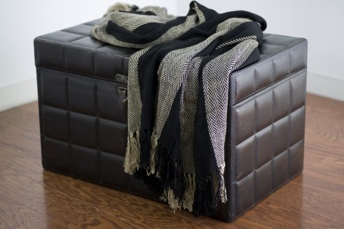 Rizzy Home Th-0107 50-Inch By 60-Inch Throw, Black/Natural