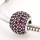 TAOTAOHAS-(1PC) Oxidized Antique Authentic 100% Solid Sterling 925 Silver Threaded Charm Beads [ Name: Pave Lights Stone Color: Fuchsia ] with Crystal Czech Rhinestone Fit European Bracelets Necklaces Chains Troll Biagi Glass Charm Beads