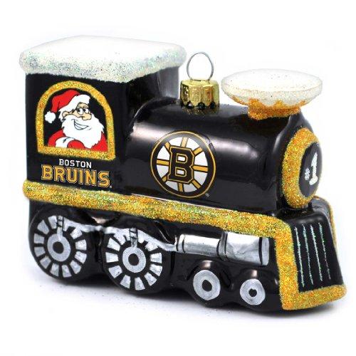 NHL Boston Bruins Blown Glass Train Ornament
