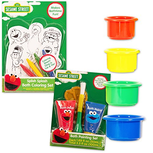 Sesame Street Elmo Bath Toys Ultimate Set Toddlers Kids -- Bath Paint, Bath Crayons, Bath Stacking Cups and More! (Bathtub Paint For Kids compare prices)
