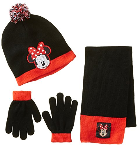 Berkshire Big Girls' 3 Piece Minnie Mouse Pom Beanie Glove and Scarf Set, Multi, One Size
