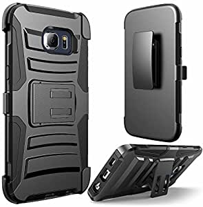 Samsung Galaxy S7 Phone Case , [ Storm Buy ] Premium Hard & Soft Sturdy Durable Shockproof Rugged Shell Hybrid Protective [ Anti Scratch ] Phone Case Cover with Built in Kickstand (Holster Black)