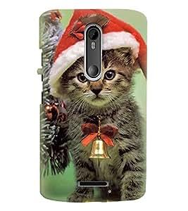 Printvisa Cat With Bell Wearing Christmas Cap Back Case Cover for Motorola Moto X3::Motorola Moto X (3rd Gen)