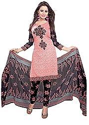 Kimisha Peach Crepe Printed Casual Wear Dress Material