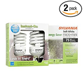  Sylvania 29729 23W Compact Fluorescent Micro Mini Light Bulb, Soft White, 2 Pack