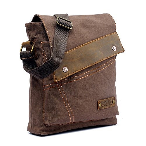 """Uomo e borsa sacchetto di spalla propenso studenti Vintage Canvas multifunzionale borsa da viaggio sacchetto di svago Retro tela di canapa delle donne, Messenger Bag zaino tracolla singola borsa cartella Laptop Bag Satchel misura per iPad Sumsang e altri tablet marca Formato: 30cm (11.81 """") x6cm (2.36"""") × 32CM (12.6 """") (coffee)"""