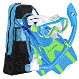 U.S. Divers Youth Coral Silicone Mask Island Dry Snorkel Mask with Hingeflex Jr. Fin and Travelite Bag Set