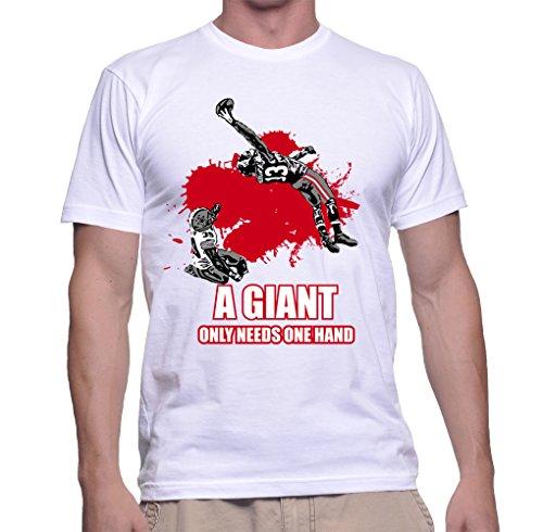 Zenzzle-Maglietta da uomo, maniche corte, scollo rotondo, 100% cotone, design: a Giant Only Needs One Hand Weiß (2) XXXL