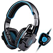 SADES SA-901 USB Wired 7.1 Surround Noise Cancelling PC Gaming Headset With Microphone (Blue+Black)