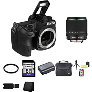 Pentax K-3 K3 24 MP SLR Camera with 3.2-Inch TFT LCD- Body + Pentax SMC DA 18-135mm F/3.5-5.6 ED AL (IF) DC WR Lens + 62mm UV Filter + 8GB SDHC Class 10 Memory Card + Lithium Ion Rechargeable DL-I90 Battery + Padded Deluxe Carrying Case w/Strap, Carrying Case + Table Top Tripod, Lens Cleaning Kit, LCD Protector + USB SDHC Memory Card Reader + Memory Card Wallet