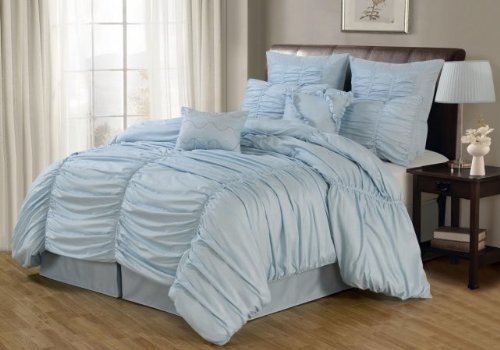 Luxury Home 8-Piece Danielle Comforter Set, King, Blue front-1019086