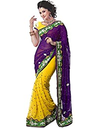 White World Women'S Georgette Saree With Blouse Piece (## Purple_Yellow _Saree _Free Size)