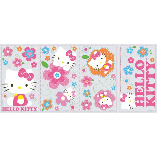 RoomMates RMK2173SCS  Hello Kitty - Floral Boutique Peel and Stick Wall Decals - 1