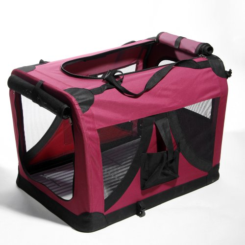 "Masione™ 24"" Wine Red Portable Pet Dog Cat House Soft Crate Carrier Cage Kennel M front-417595"