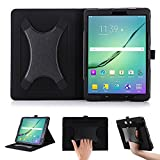 BeePole Samsung Galaxy Tab S3 SM-T820/SM-T825 Tab S2 T810 9.7 Inch Case with Multi Angle Support Xband Enhanced Hand Strap - PU Leather Tablet Cover with Magnetic Auto Wake/Sleep Feature (Black)