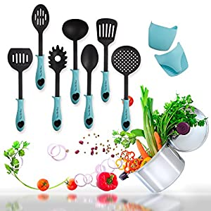 Kitchen Utensil Set- Plus A Set Of 2 Heat Resistant Silicone Gloves- 7 Non-Stick Cooking Utensils: Skimmer, Soup Ladle, Slotted Spoon, Solid Server, Pasta Server, 2 Turners, 2 Silicone Gloves