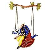 Dizionario Wrought Iron Radha Krishan Swing Jhula Designed Handcrafted Decorative Wall Hanging 42.5x60cm