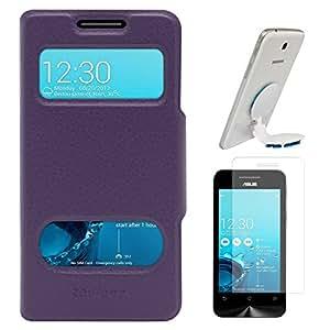 DMG Premium Flip Table Talk Stand Cover Case For Asus Zenfone 4 A400CXG (Purple) + Universal Octopus Swivel Stand Mount + Matte Screen