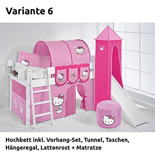 Hochbett Spielbett IDA Hello Kitty Rosa, mit Turm, Rutsche und Vorhang, weiß, Variante 6