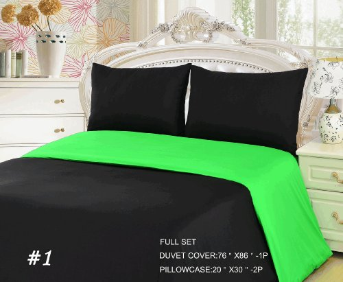 Tache 3 Piece 100 % Cotton Solid Lime Green/ Black Reversible Duvet Cover Set, Full front-388044