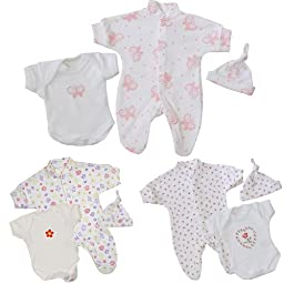 Premature Early Baby Girls Clothes 3 Piece Set - Sleepsuit, Bodysuit & Hat 1.5lb - 7.5lb BUTTERFLY P2