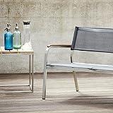 Jan Kurtz Lux XL Loungebank 3-Sitzer, schwarz Gestell Edelstahl Batyline