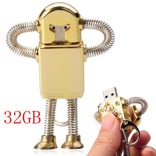 32GB Creative Metal Robot USB Flash Drive with Keychain / Spring - Golden